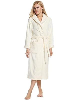 Ekouaer Robes Unisex Kimono Bathrobe Super Plush Microfiber Fleece Loungewear S-XL