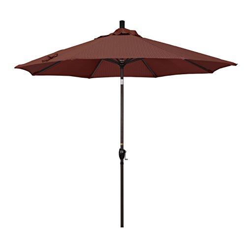 California Umbrella 9' Round Aluminum Market Umbrella, Crank Lift, Push Button Tilt, Bronze Pole, Terrace Adobe Olefin