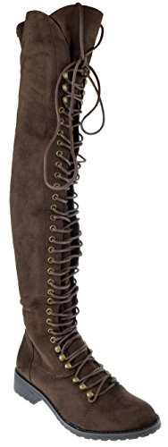SHOEDEZIGNS Travis 05A Women Military Lace Up Thigh High Combat Boot Brown Faux Suede 8.5