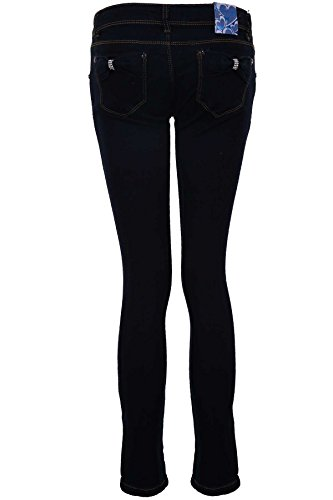 ZAFIRO Mujer Claro Lavado Ácido Entallado Pitillo Para Mujer Cintura Alta Vaqueros Denim EU 34-42 - Denim Oscuro (broche de cristales), XS (UK 6)