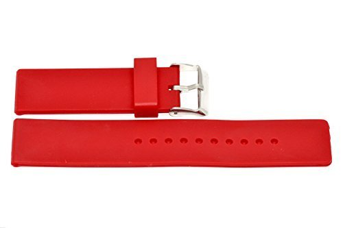 24MM RED RUBBER SILICONE COMPOSITE LINK WATCH BAND FITS NIXON by Cuir De Lyon