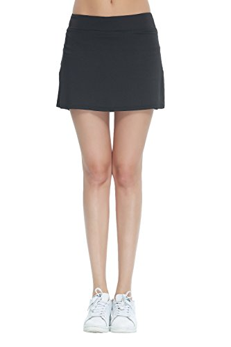 HonourSport Women's Club Tennis Underneath Skorts(Black White, L)