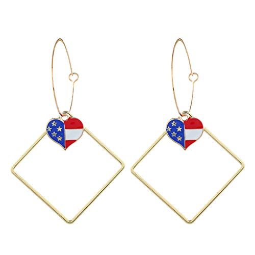 (Earrings for Women,Mebamook Simple Independence Day Flag Star Large Metal Earrings Necklace Women's Jewelry)