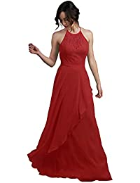 05f0665007bea Women's A Line Open Back Halter Chiffon Bridesmaid Dress Long Lace Formal  Evening Gown