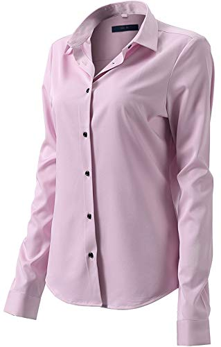 (Button Down Shirts for Women Formal Work Wear Simple Pink Shirts Size 10)