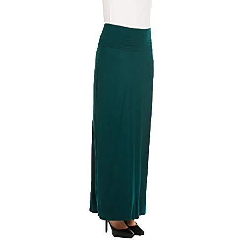 X America Womens Long Stylish Foldover Maxi Skirt, Rayon Spandex, Junior & Plus Olive