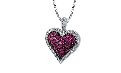 1ct Simulated Ruby & Cubic Zirconia Heart Pendant in 14k White Gold Over Sterling (Ruby Pave)