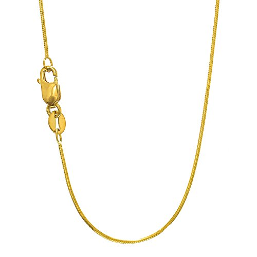MCS Jewelry 14 Karat White OR Yellow Gold Round Snake Chain Necklace 0.7mm (Length: 16