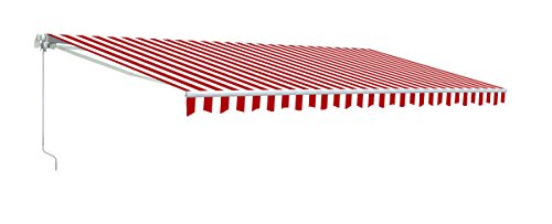 Awning Red Striped - ALEKO AWM16X10REDWHSTR05 Retractable Motorized Patio Awning 16 x 10 Feet Red and White Striped