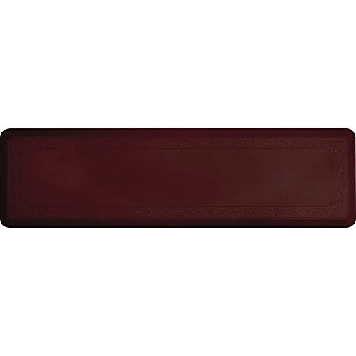 Smart Step Home 72 Inch by 20 Inch Fleur-de-Lys Mat, Burgundy