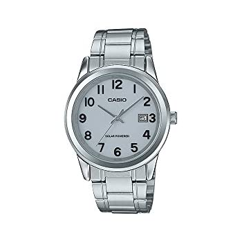 Casio MTP-VS01D-7B2 Mens Standard Solar Powered Stainless Steel Numbers Dial Date Watch