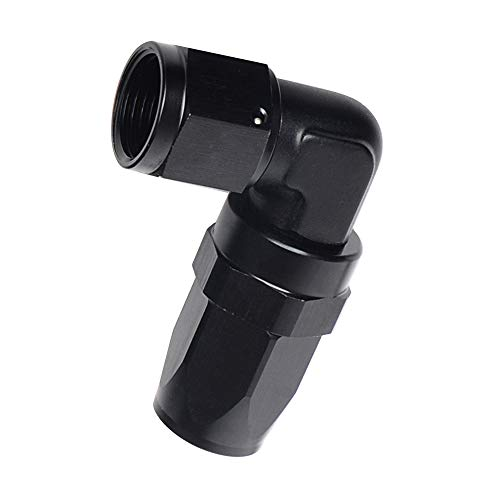 8AN Black 90 Degree Swivel Elbow Aluminum Low Profile Forged Hose Fittings Female -8 AN 3/4-16 Thread To AN8 Hose End Pipe ()