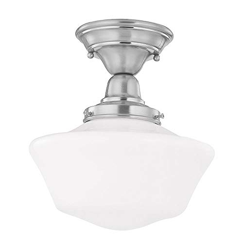 Polished Nickel 12 Inch Schoolhouse Semi Flush Mount Ceiling Light With Milk Glass - Vanity Milk Glass