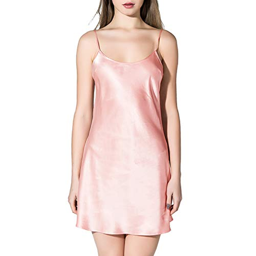 COLD POSH Womens 100% Pure Mulberry Silk Chemise Sexy Satin Full Slips Nightwear Sleepwear for Spring/Summer,Spaghetti Straps,Soft/Comfortable/Breathable,Pink,M