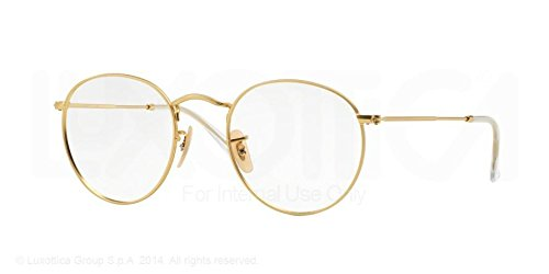 ray ban golden frame glasses  amazon: ray ban round metal eyeglasses rx3447v 2730 matte gold 50 21 145: shoes