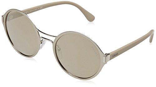 Prada Womens Sunglasses Silver Matte/Brown Metal - Non-Polarized - - Hut Sunglass Prada