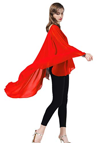 Chiffon Capelet Sheer Bridal Shawl For Women Materbity Cape Plus Size Poncho Wrap Red ()