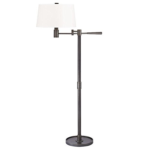 Twenty One Light Transitional (Hudson Valley Lighting Lindale 1-Light Floor Lamp - Old Bronze Finish with White Faux Silk Shade)