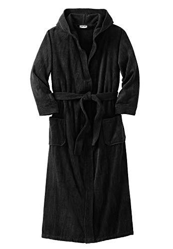 KingSize Men's Big & Tall Terry Velour Hooded Maxi Robe, Black Big-7XL/8X