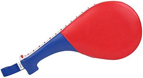 パンチングミット テコンドーダブルフットパッド武道機器スポーツ用品パドルキックパッドターゲットテコンドー空手キックボクシングトレーニングTKDは、パッドの練習キックターゲットトレーニングダブルフェイスを蹴るキック (色 : 赤, サイズ : ワンサイズ)