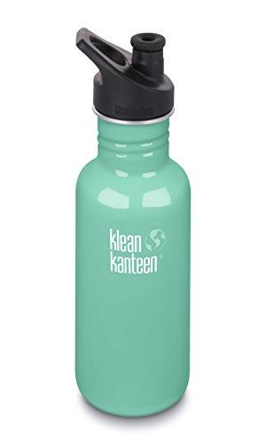 Klean Kanteen 18oz Classic Stainless Steel Water Bottle with Klean Coat, Single Wall and Leak Resistant Sport Cap 3.0 - Sea Crest (18 Ounce Sports Bottle)