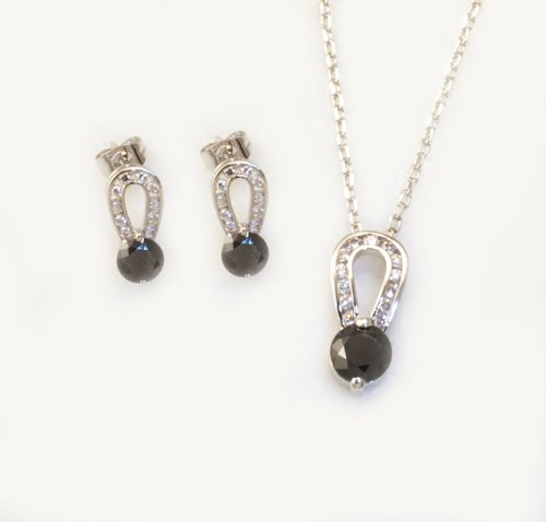 Rhodium Plated with Crystal 2-pc Set