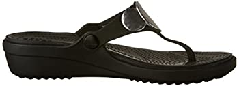 Crocs Women's Sanrah Embellished Flip Wedge Sandal, Blacksilver Metallic, 9 M Us 6