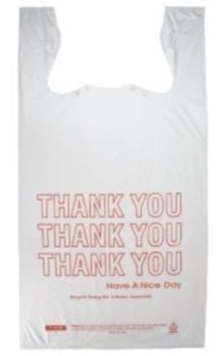 """Prime Plastics 3000 Large 1/6 Bbl T-Shirt Thank You Shopping Bags 11.5""""x6.5""""""""x21"""" - Recycleable (pack of 3000)"""