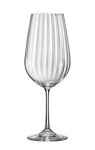 David Shaw BC722-550 Bohemia Waterfall Optic Wine Glass, Set of 6, 550ml/19.5 oz - Waterfall Wine