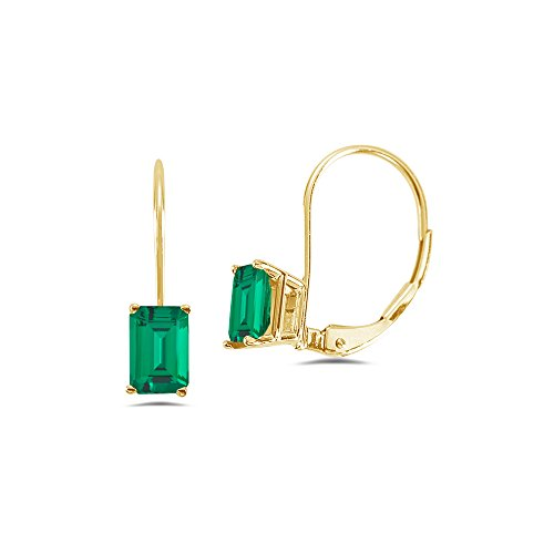 0.84-1.10 Cts of 6x4 mm AAA Emerald-Cut Russian Lab Created Emerald Stud Earrings in 14K Yellow Gold