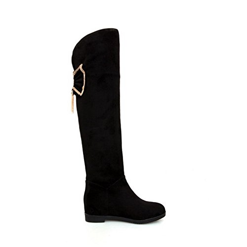 Kitten Round with Women's Diamond on Black Heels Pull AgooLar High Glass Solid Boots Closed top Toe 7AnYzF