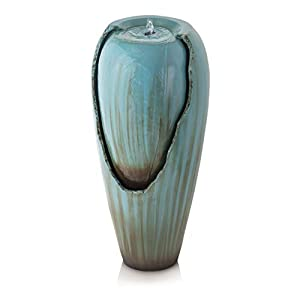 Alpine Water Jar Fountain w/LED Light, Turquoise, 32 Inch Tall