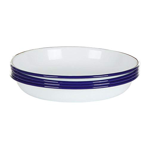 Falconware Enamel Set of 4 Deep Side Plates White with Blue Rim