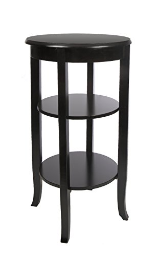 "ih casa décor AF-1032 Wooden Round Table with 2 Shelves, 16"", Black"