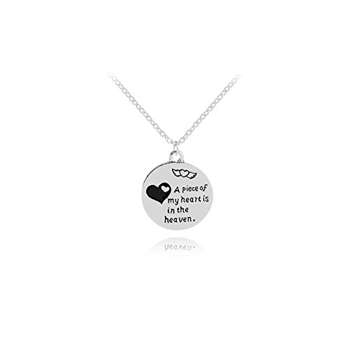 A Piece of My Heart is in The Heaven Memorial Pendant Necklace Jewelry in Memory of Loved One Dad Mom Sympathy Gift