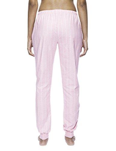 Noble Mount Pantalón Pijama Jogging de 100% Franela de Algodón para Mujer Rayas Rosa