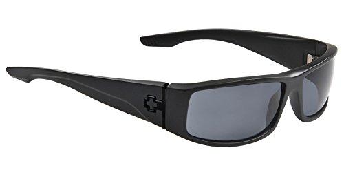 Spy Optic Cooper Polarized Wrap Sunglasses, Soft Matte Black/Happy Gray/Green Polar, 56 - Spy Cooper Sunglasses