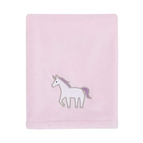 Carter's Unicorn Snuggles Pink, White, Lavender Super Soft Plush Coral Fleece Baby Blanket with Unicorn Applique, Pink, White, ()