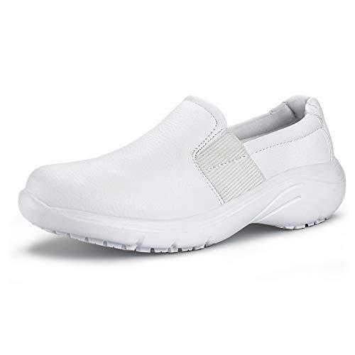 (Hawkwell Women's Lightweight Comfort Slip Resistant Nursing Shoes,White PU,7 M US)