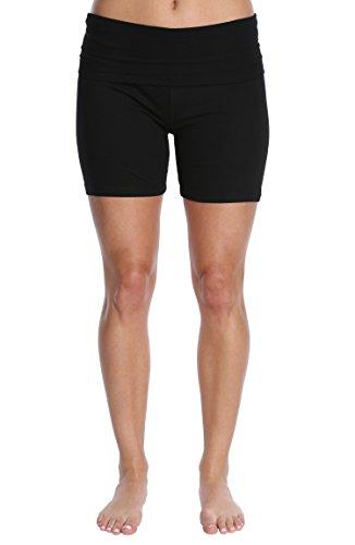 Nouveau Women's Workout Active Yoga Shorts w/Fold Over Waistband - Ladies Casual Loungewear - Black W. Black Waist Band, X-Large