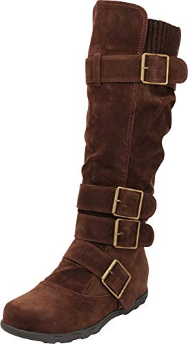 Cambridge Select Women's Buckle Sweater Flat Knee-High Boot (8.5 B(M) US, Brown)