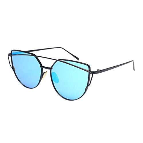 Vovotrade Fashion Twin-Beams Classic Women Metal Frame Mirror Sunglasses Cat Eye Glasses (Blue, - Expensive Sunglasses Brands Of