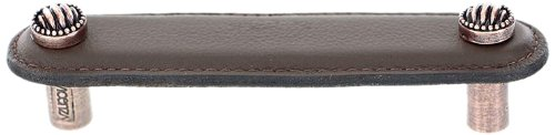 Vicenza Designs K1170 Sanzio Lines and Dots Leather Pull, 4-Inch, Brown, Antique Copper