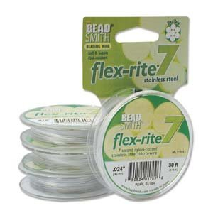 Pearl Silver Flex Rite Beading Stringing Wire .024 Inch 30 Feet Nylon Coated Stainless Steel 7 Strand Tigertail 38.8lb Break Stongest Thickest