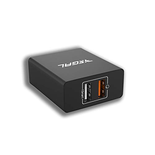 Xegal Qualcomm USB Wall Adapter with 5.4a Quick Charging Dual USB Port for All iOS & Android Devices- Black