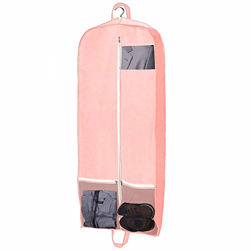 Mesh Tri Fold Garment Bag - QEES Women's Dress Garment Bag with Zipper Pockets, Trifold Hanging Clothes Storage Bags, Bridal Wedding Gown Dress Bag for Prom, Evening Gowns (L: 22.6x3.4x60 inch, Pink)