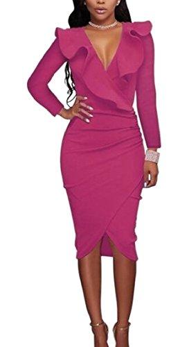 Neck Bodycon Sexy Dress Womens Rose Ruffle Jaycargogo Sleeve V Red Cocktail Long w4gUnqI