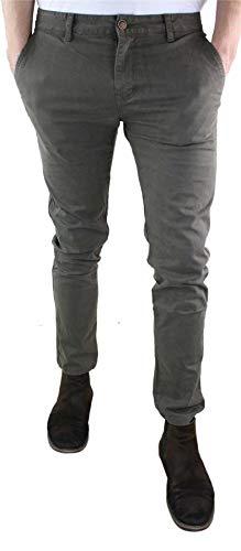 Couleurs Jeans Ajustée Homme Gris Rétro Décontracté Pantalon Chino Vintage marron Coupe Leeyo EZBqAIwTRx