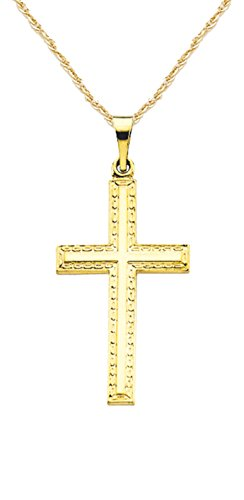 US Jewels And Gems New Solid 14k Yellow Gold Christian Cross Pendant 1.5mm Rope Chain Necklace ()