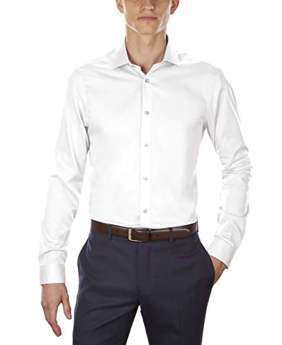 Calvin Klein Men's Dress Shirt Non Iron Solid, White, 15